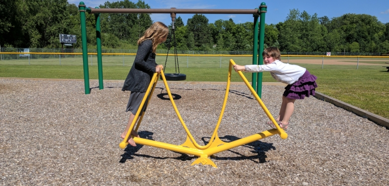 This new age teeter totter is fun for all ages.