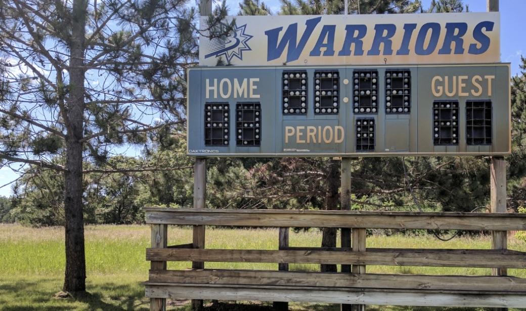 A soccer scoreboard on the soccer fields Baxter Minnesota