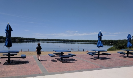 You can enjoy a view and shade at these newly installed picnic tables.