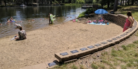 While not extremely large, the sandy area is perfect for staying cool on a hot day.