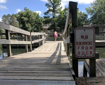 The fishing dock juts right into the river to help find the perfect catch.