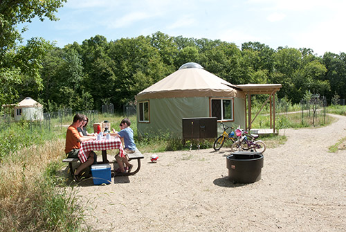 family camping in yurt, recreation in the park