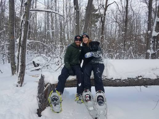 I love snowshoeing with friends, stopping to chat about the neat things we find!